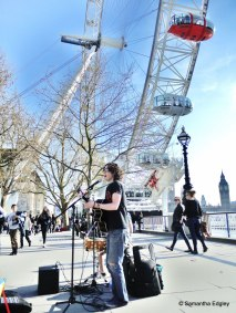 Busking by the London Eye