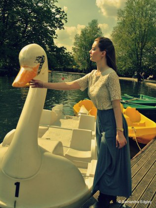 Helen and the swan boat at Alexandra Palace