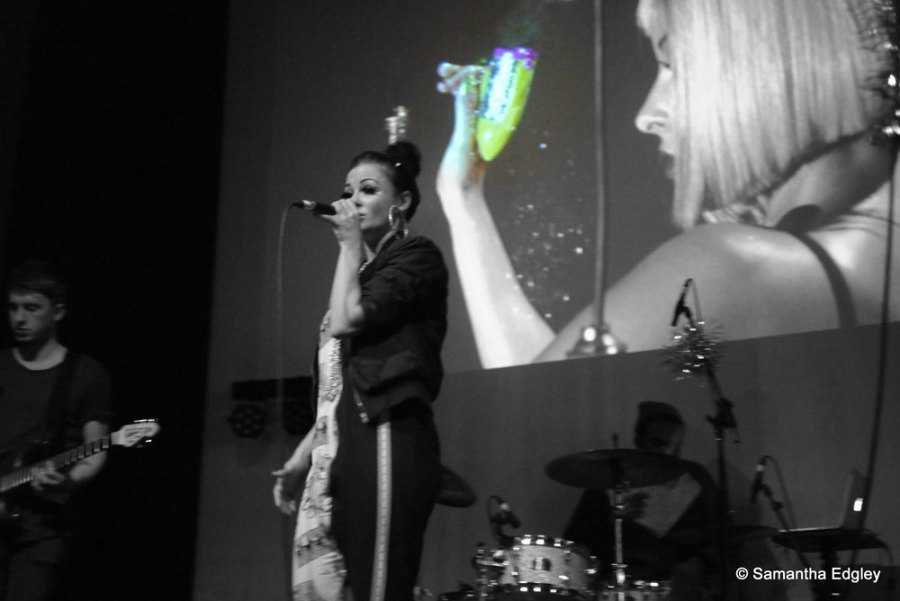 Mila Falls on stage - Video Launch Party at Rich Mix