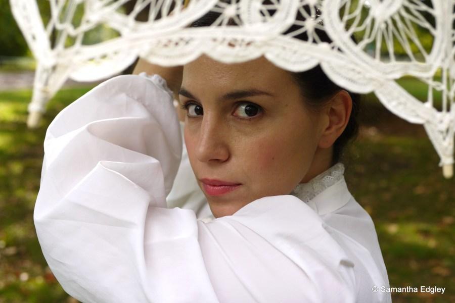 Maya Levy with parasol
